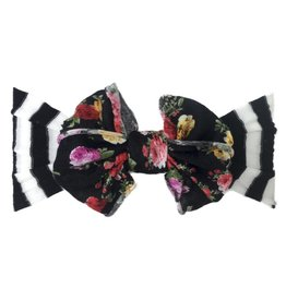 Baby Bling Jersey Bow (Black Stripe/Black Floral)