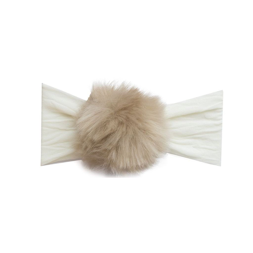 Baby Bling Rabbit Fur Pom (Ivory/Camel)