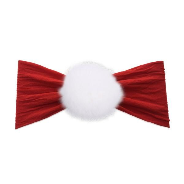 Baby Bling Rabbit Fur Pom (Cherry/White)