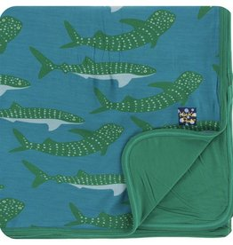 Kickee Pants Print Toddler Blanket (Seagrass Whale Shark - One Size)