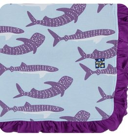Kickee Pants Print Ruffle Toddler Blanket (Pond Whale Shark - One Size)