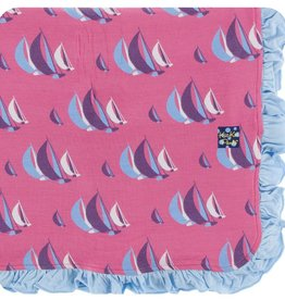 Kickee Pants Print Ruffle Toddler Blanket (Flamingo Sailing Race - One Size)