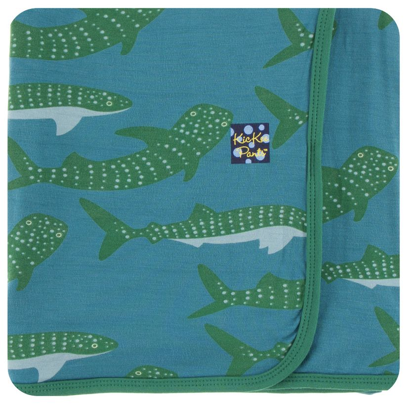 Kickee Pants Print Swaddling Blanket (Seagrass Whale Shark - One Size)