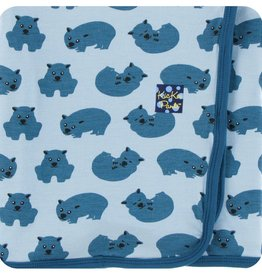 Kickee Pants Print Swaddling Blanket (Pond Wombat - One Size)