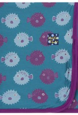 Kickee Pants Print Swaddling Blanket (Seagrass Puffer - One Size)