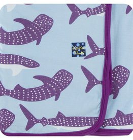 Kickee Pants Print Swaddling Blanket (Pond Whale Shark - One Size)