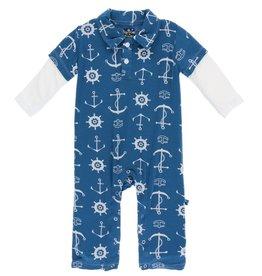Kickee Pants Print Long Sleeve Double Layer Polo Romper