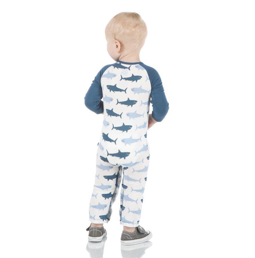 Kickee Pants Print Long Sleeve Raglan Romper (Natural Megalodon)