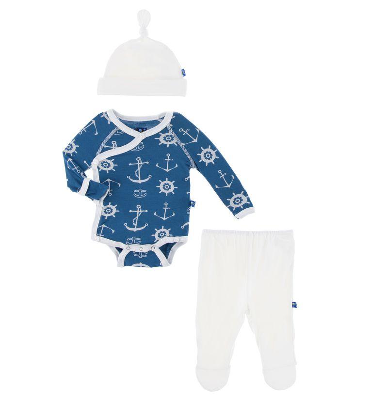 Kickee Pants Kimono Newborn Gift Set with Elephant Box (Twilight Anchor - 3-6 Months)