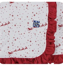Kickee Pants Print Ruffle Stroller Blanket in Natural Flying Santa (One Size)