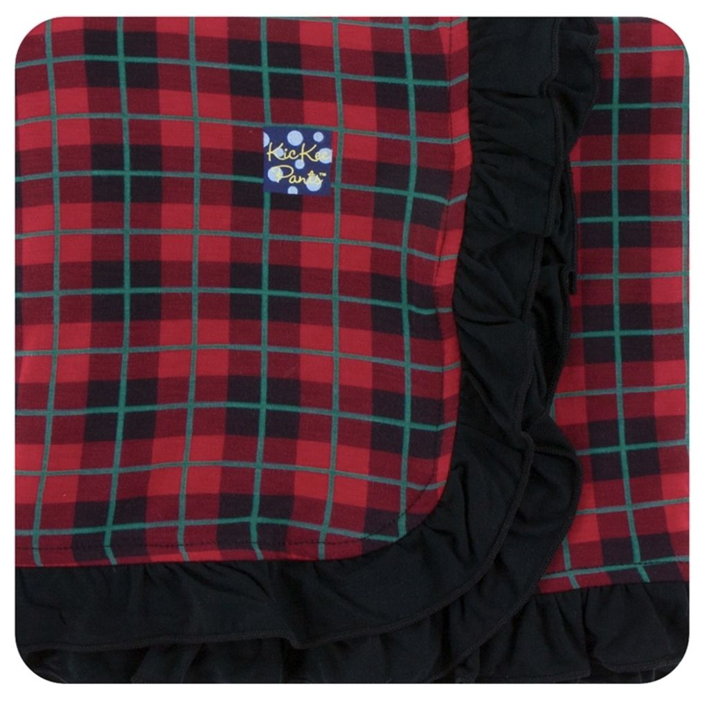 Kickee Pants Print Ruffle Stroller Blanket in Plaid (One Size)