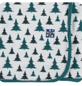 Kickee Pants Print Swaddling Blanket in Natural Christmas Trees (One Size)