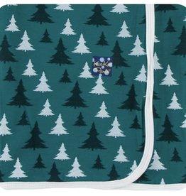 Kickee Pants Print Swaddling Blanket in Cedar Christmas Trees (One Size)