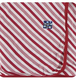 Kickee Pants Print Swaddling Blanket in Crimson Candy Cane Stripe (One Size)