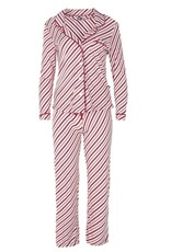Kickee Pants Print Collared Pajama Set in Crimson Candy Cane Stripe