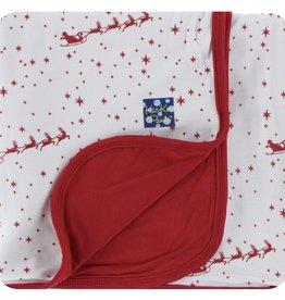 Kickee Pants Print Stroller Blanket in Natural Flying Santa (One Size)