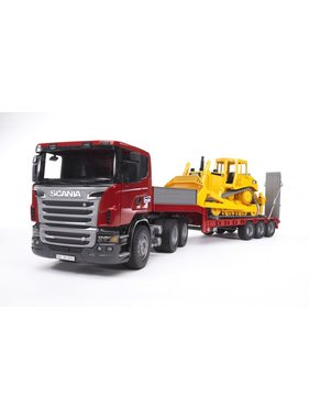 BRUDER BRUDER SCANIA R SERIES LOW LOADER TRUCK WITH CAT BULLDOZER
