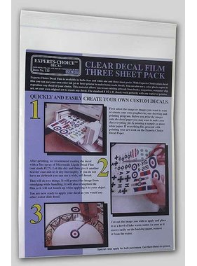 EXPERTS CHOICE EXPERTS CHOICE DECAL INK JET CLEAR DECAL FILM THREE SHEET PACK