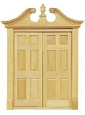 "HOUSEWORKS HOUSEWORKS DOUBLE DEERFIELD DOOR FITS OPENING 5 15/16"" W X 7 1/4"" H  1/12TH SCALE  HW6034"