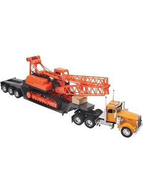 NEWRAY DIECAST YELLOW KENWORTH W900 WITH ORANGE CRANE