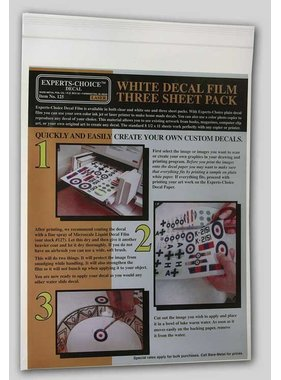 EXPERTS CHOICE EXPERTS CHOICE DECAL LASER WHITE DECAL FILM THREE SHEET PACK