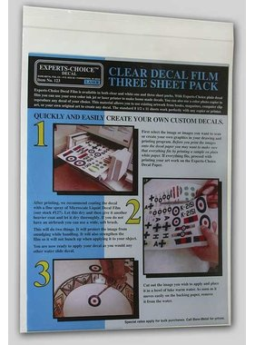 EXPERTS CHOICE EXPERTS CHOICE DECAL LASER CLEAR DECAL FILM THREE SHEET PACK