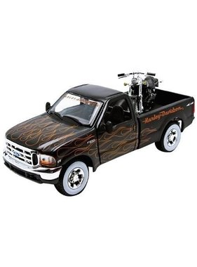 MAISTO MAISTO 1999 FORD F-350 SUPER DUTY PICKUP 1/27 WITH 2002 FXSTB NIGHT TRAIN 1/24