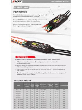 EMAX EMAX BL HELI 40A ESC 2-6S WITH 3A 5V BEC SPEED CONTROLLER