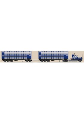 HIGHWAY REPLICAS 1:64 LIVESTOCK ROAD TRAIN BLUE & WHITE STRIPE MACK HIGHWAY REPLICAS INCLUDES PRIMEMOVER 2 TRAILERS & 1 DOLLY Limited Edition 1002 Pieces