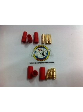 ACE IMPORTS ACE 3.5mm GOLD BULLET CONECTORS WITH RED HOUSING MALE AND FEMALE 3 PAIRS