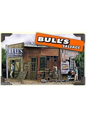 BAR MILLS SCALE MODEL WORKS BAR MILLS HO BULLS SALVAGE TIN BUILDING
