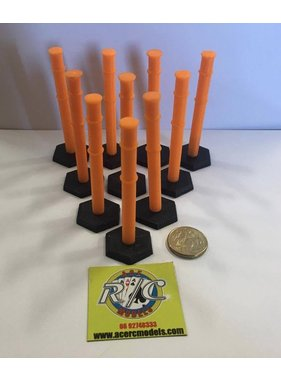 ACE 3D PRINT WORKS ACE 3D PRINT 1:14  SAFETY BOLLARD ( 10 PACK )  ORANGE WITH BLACK BASE ( OTHER COLOURS AVAILABLE ON REQUEST )
