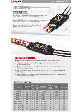EMAX EMAX BL HELI 30A ESC 2-4S WITH 2A 5V BEC SPEED CONTROLLER