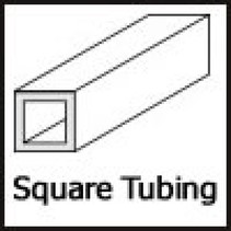 "EVERGREEN SQ TUBE 1/4"" (.250) 6.3MM X 6.3MM  BULK PACK 10 PCS"