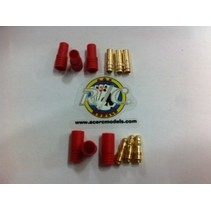 ACE 3.5mm GOLD BULLET CONECTORS WITH RED HOUSING MALE AND FEMALE 3 PAIRS