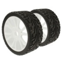ACE 1/8 RUBBER ON-ROAD WHEEL AND TYRE SET OF 4 PRE-MOUNTED REQUIRES GLUEING