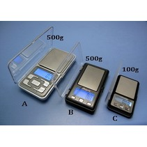HY ELECTRONIC SCALES 500g±0.1g A BLUE BACKGROUND LIGHT/STAINLESS STEEL PAN<br />