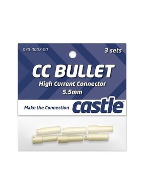 CASTLE CREATIONS CASTLE BULLET 5.5MM HIGH CURRENT CONNECTOR 3 EACH MALE AND FEMALE