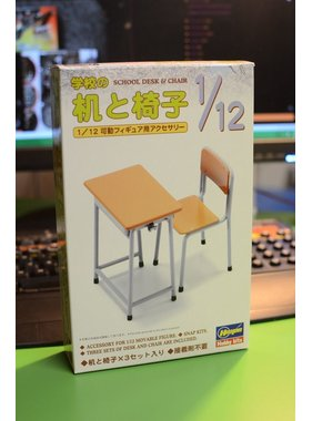 HASEGAWA HASEGAWA 1/12 SCHOOL DESK & CHAIR  MAKES 3 DESK & 3 CHAIRS