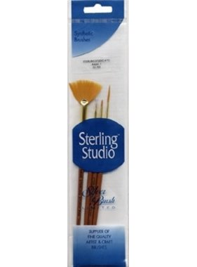 STERLING STUDIO SS-105 STERLING STUDIO 4 PIECES BASIC VARIETY 1 <br />LINER 2/0, EVENTAIL 2 , ROUND 0 PLAT COURT 2/0