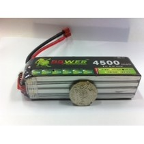 LION POWER LIPO 45C 14.8V 4500mAh READ SAFETY WARNING BEFORE USE 36x36x137mm 378g SOLD WITH DEANS PLUG