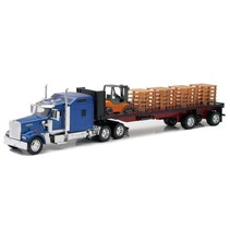 NEWRAY KENWORTH W900 FLATBED WITH FORKLIFT 1/32