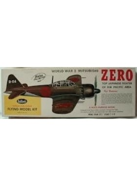 "GUILLOWS GUILLOWS WWII ZERO 27 3/4"" WINGSPAN SCALE FLYING MODEL KIT  KIT NO 404LC"