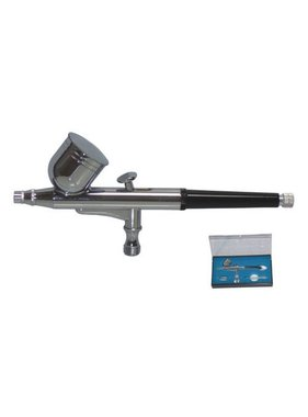 HSENG AIRBRUSH DUAL ACTION GRAVITY FEED DOUBLE ACTION AIRBRUSH, 0.2-0.5MM NOZZLE, 7CC CUP