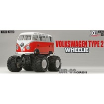 TAMIYA VOLKSWAGEN KOMBI TYPE2 T1 WHEELIE WR-02 CHASSIS XB PAINTED BODY  WITH CHROME WHEELS