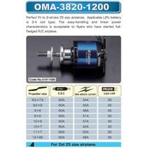 OS OMA-3820-1200 38mm BRUSHLESS MOTOR (1200 RPV) EQUIV .25 SIZE 2 STROKE