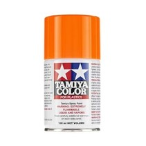 Tamiya Spray Lacquer TS-96 Fluorescent Orange ( Repsol orange ) must be backed with ts-26 pure white