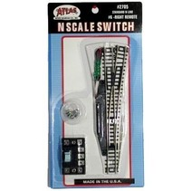 ATLAS N SCALE SWITCH TURNOUT RIGHT REMOTE #2705