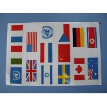 HY VINYL FLAGS 90 x 45mm x 10 FLAGS <br />INCLUDES U.N. ITALY FRANCE, U.K. USA, ISRAEL, NETHERLANDS, U.N.  SWEDEN, CHINA,  CZECH  CANADA GERMANY AUSTRALIA NORTH KOREA<br />( OLD CODE HY390313 )