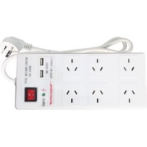 240V AUS 6 WAY POWER BOARD SWITCHED WITH 2 X 1AMP USB PORTS  ( 0.9 mt lead )